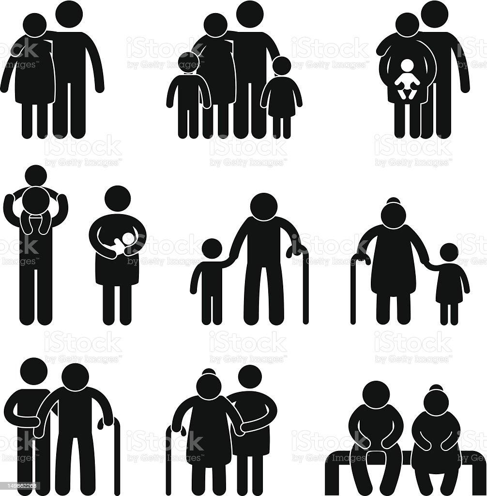 Happy Family Pictogram vector art illustration