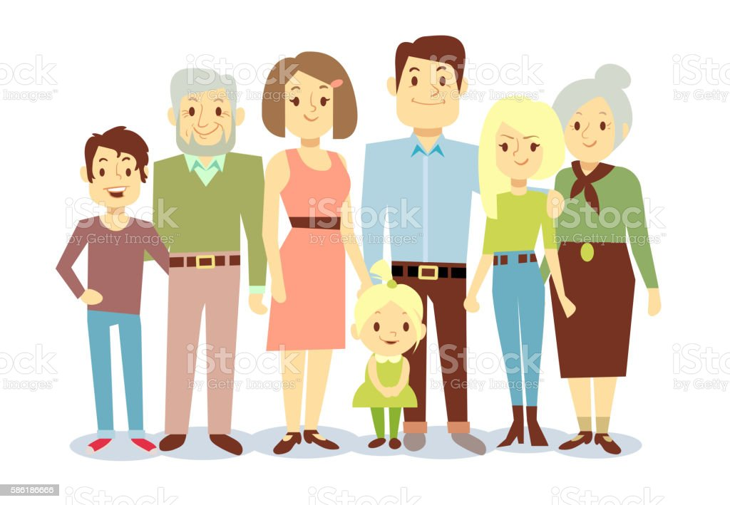 Happy family portrait, vector flat characters vector art illustration