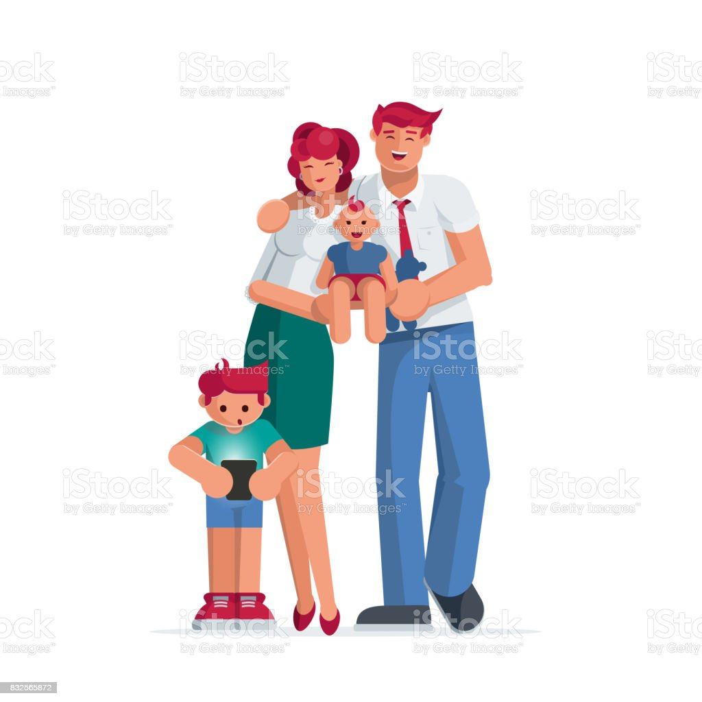 Happy family portrait. vector art illustration