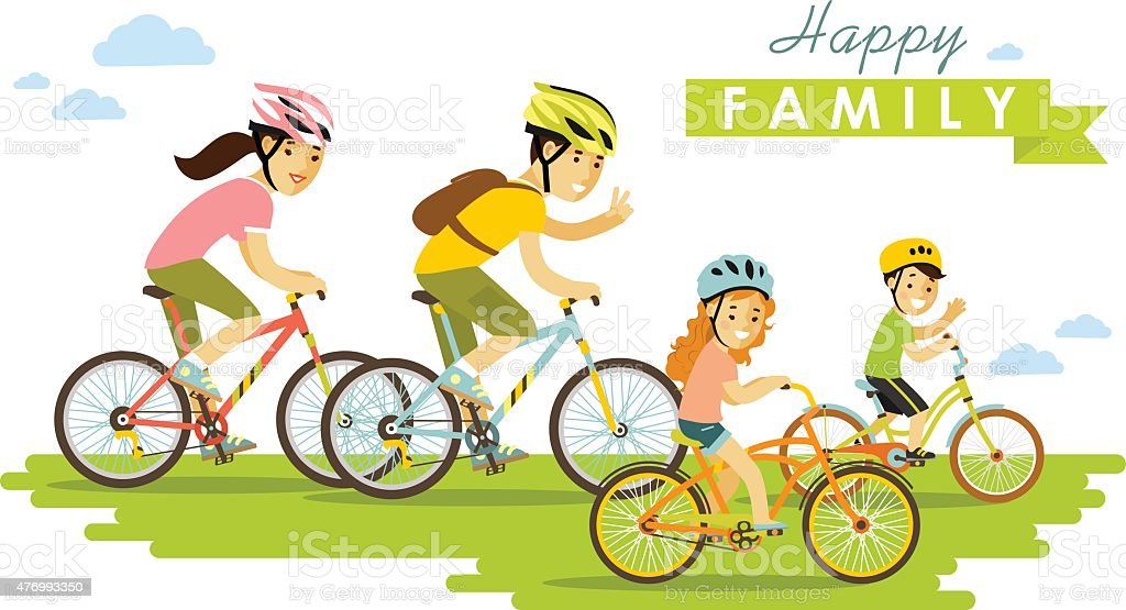 Happy family riding bikes isolated on white background flat style vector art illustration