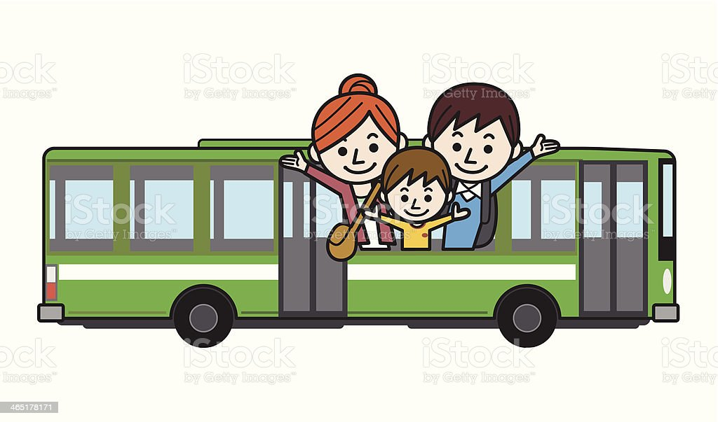 Happy family riding on the bus royalty-free stock vector art