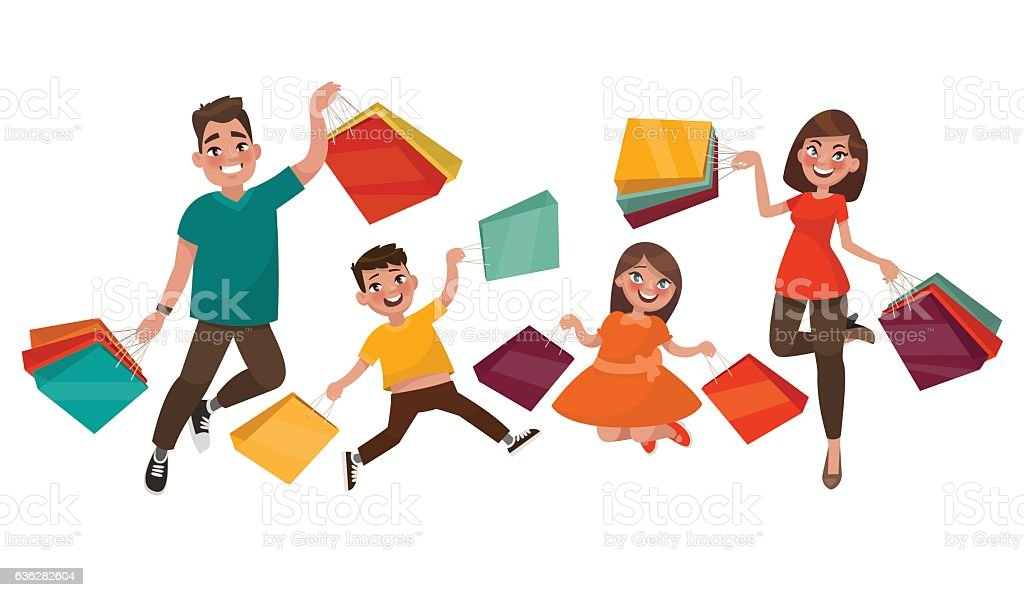 Happy family shopping. Mother, father vector art illustration