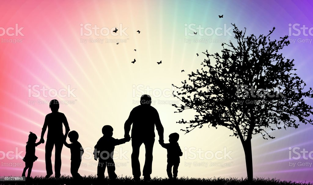Happy family silhouettes vector art illustration