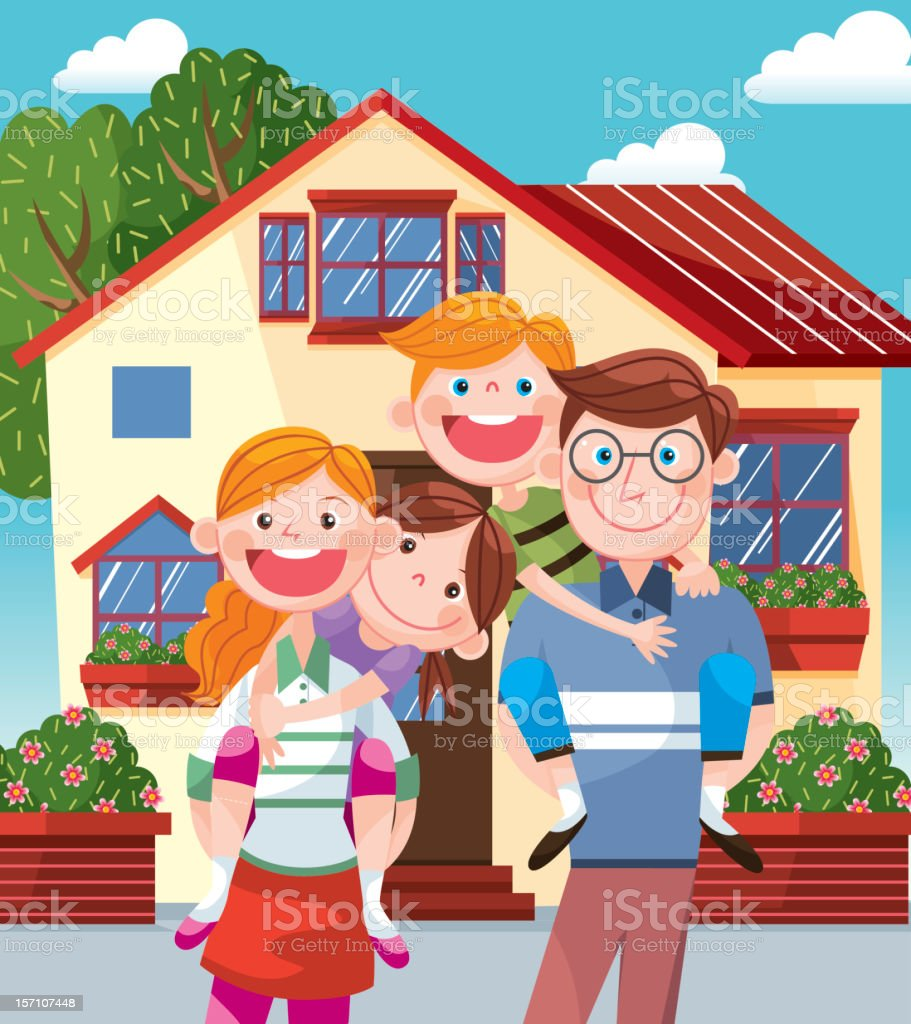 Happy Family standing before home vector art illustration