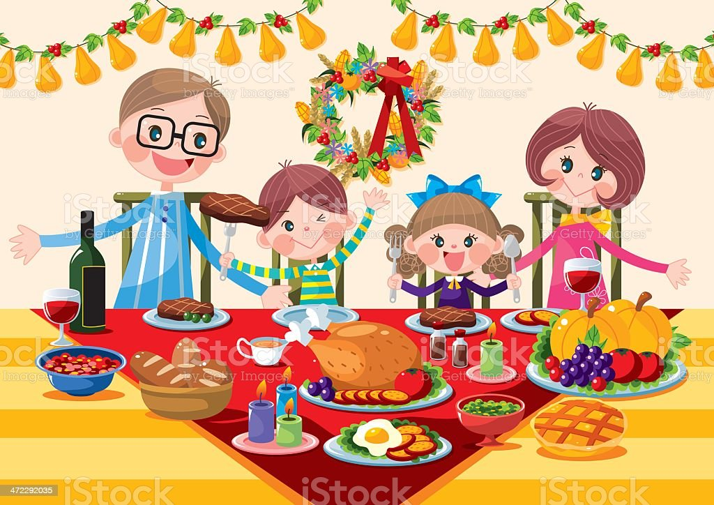 Happy family Thanksgiving Dinner vector art illustration
