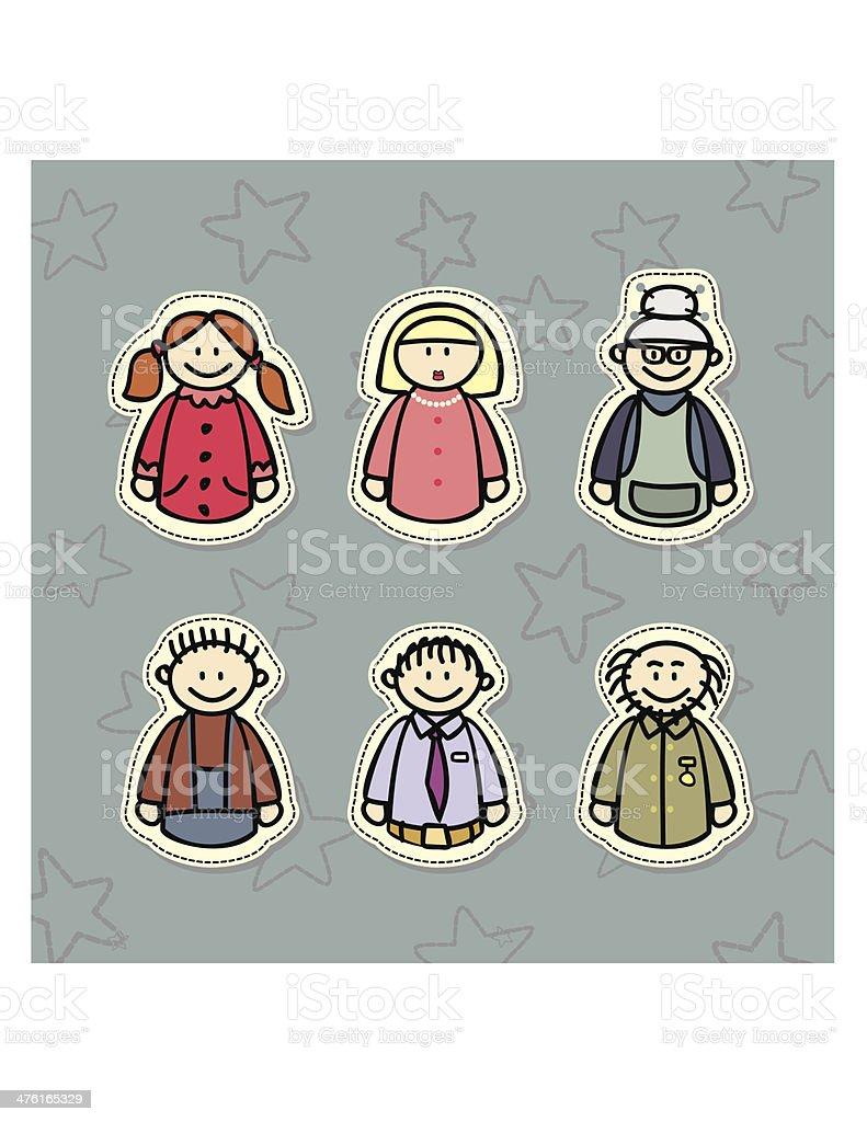 happy family, three generations royalty-free stock vector art