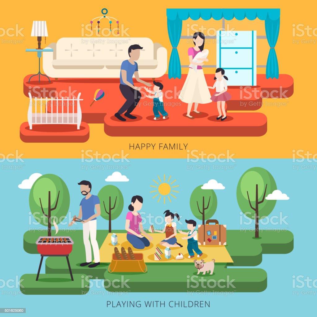 happy family time illustration vector art illustration