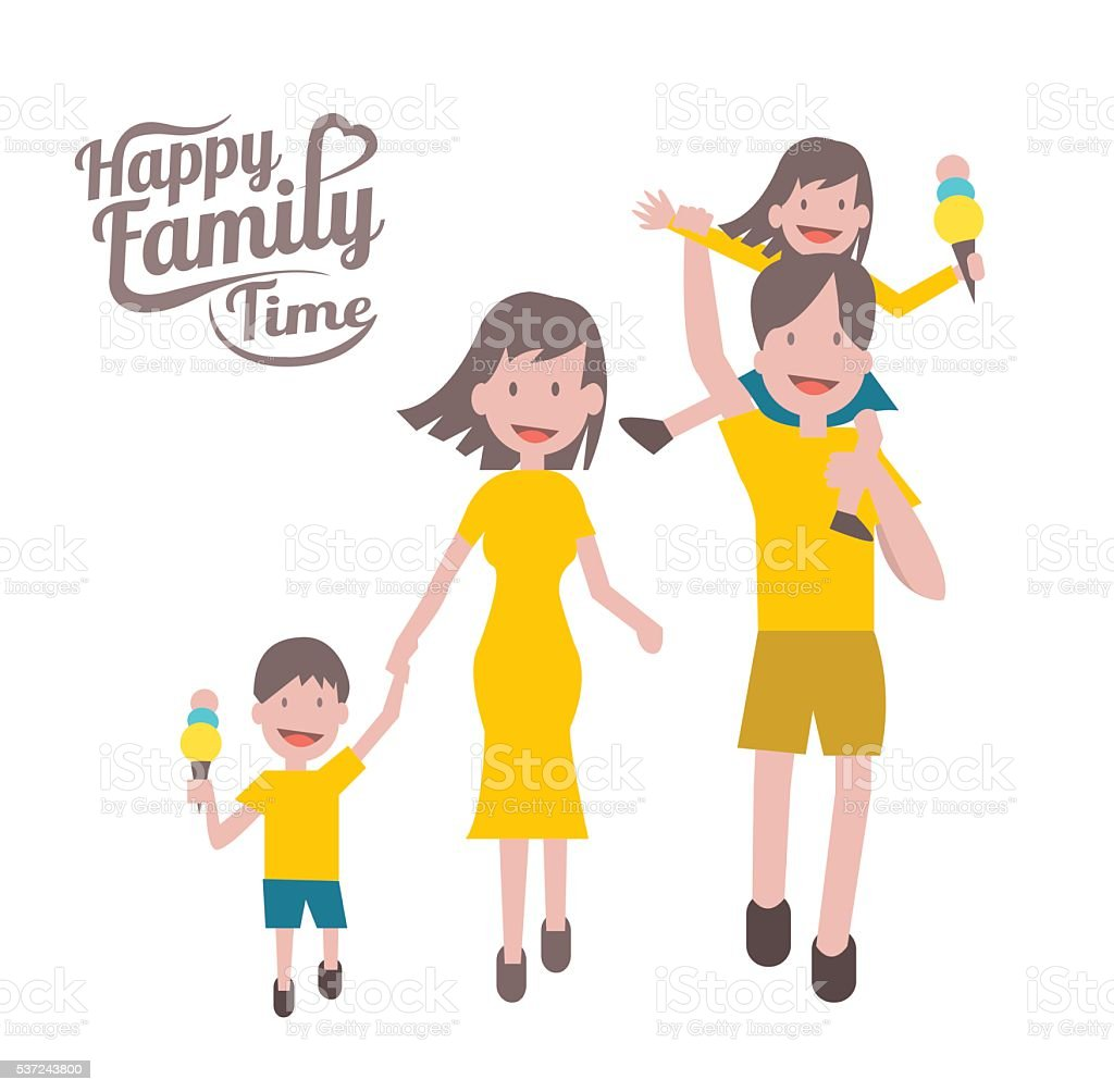 Happy family time. parent and children with cheerful smile. vector art illustration