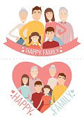 Happy Family. Traditional family portrait. Vector