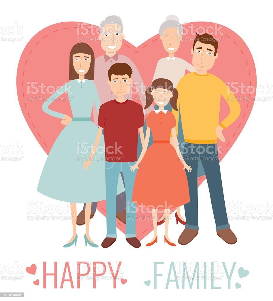 Happy Family. Traditional family portrait. Vector royalty-free stock vector art
