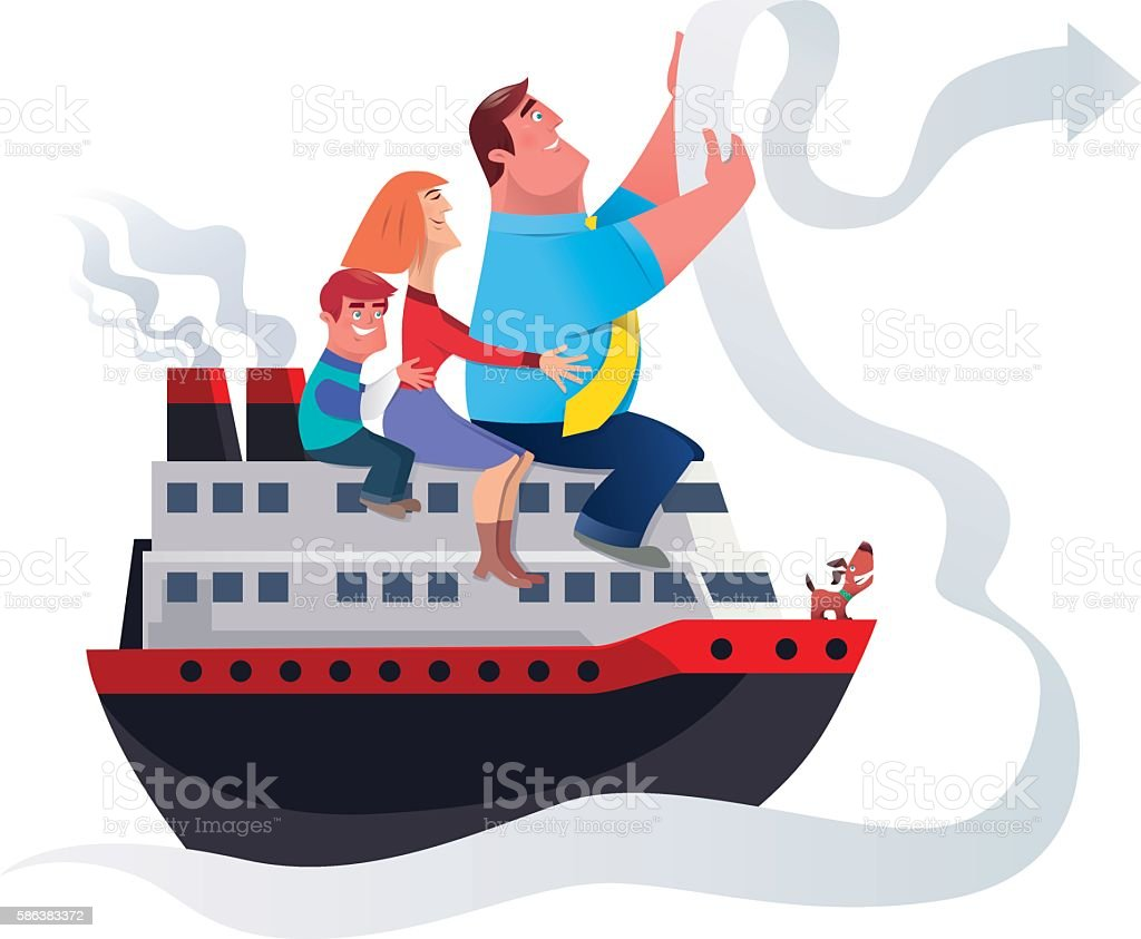 happy family traveling with ship vector art illustration