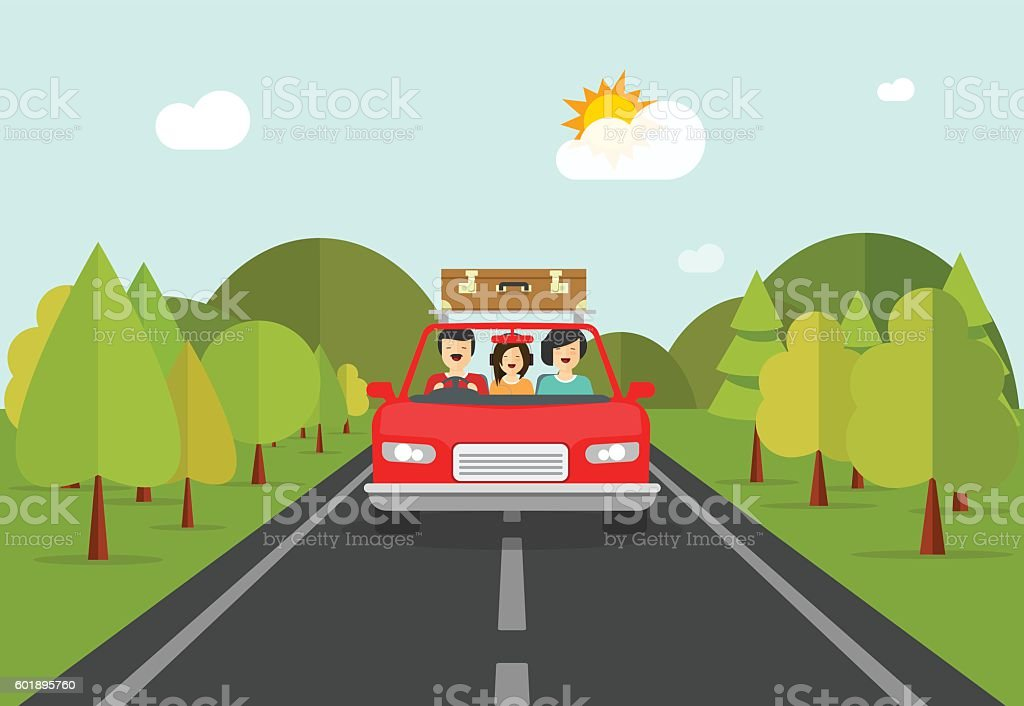 Happy family trip by car, people characters in auto travelling vector art illustration