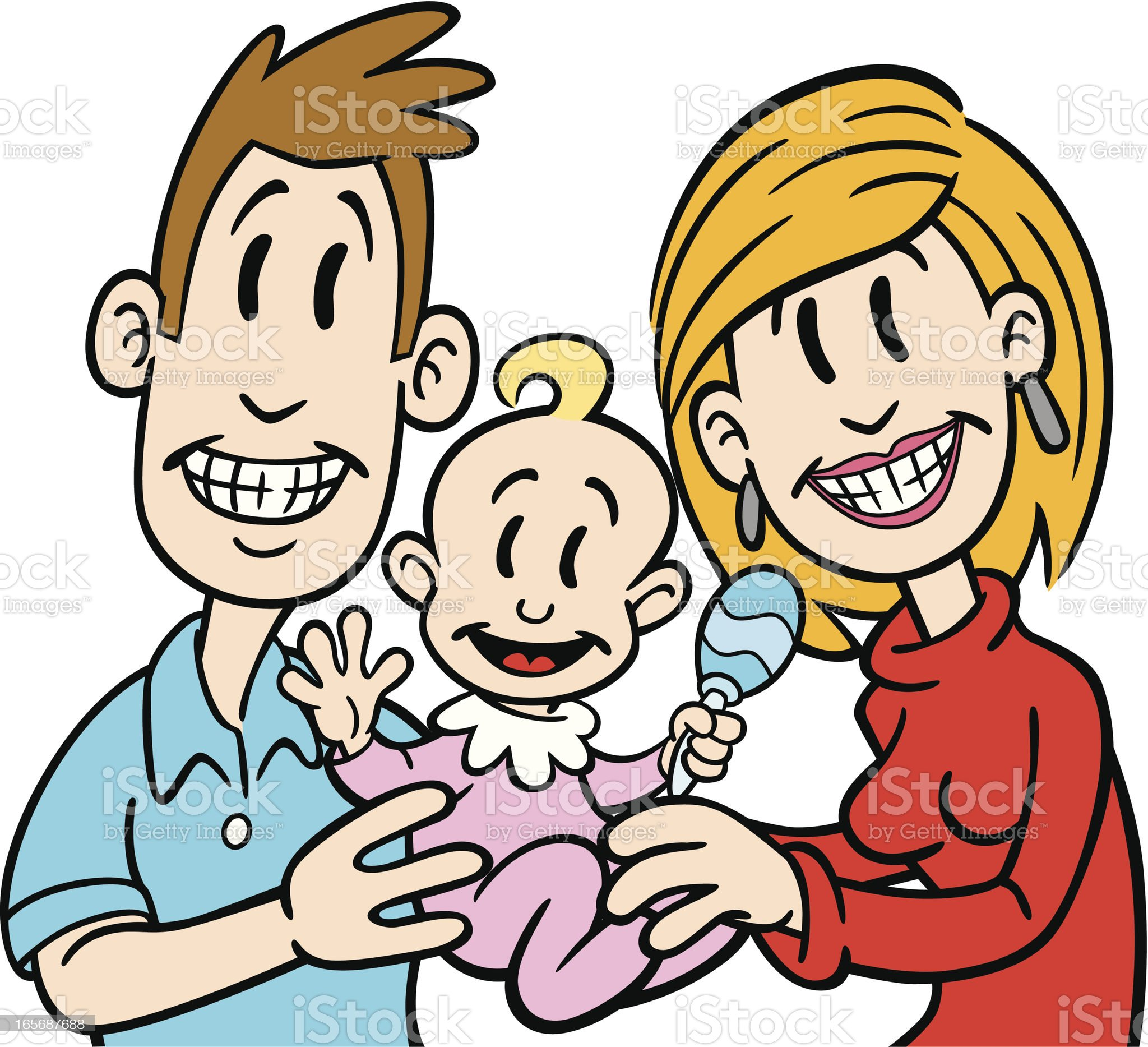 Happy Family With Baby royalty-free stock vector art