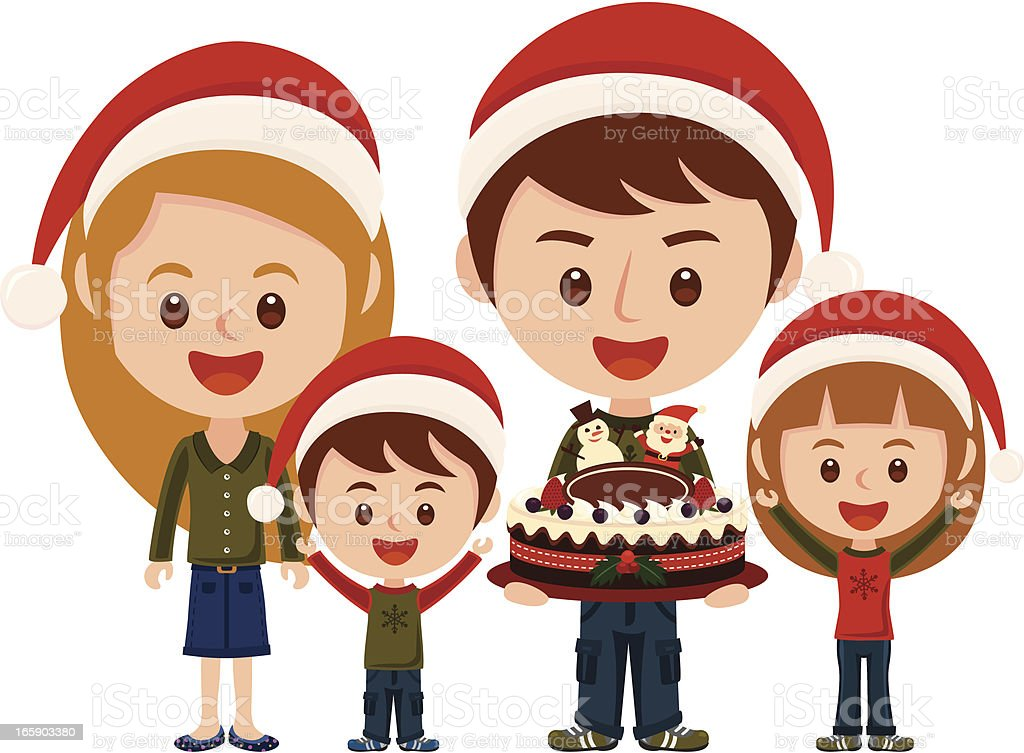 Happy family with Christmas costume vector art illustration