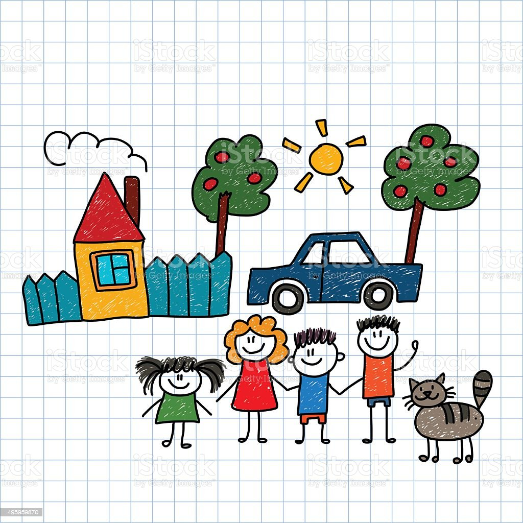 Happy family with house and car vector art illustration