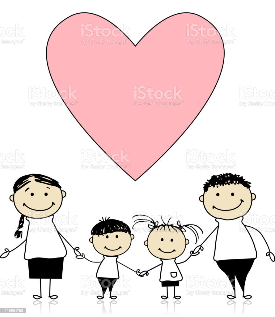 Happy family with love, drawing sketch royalty-free stock vector art