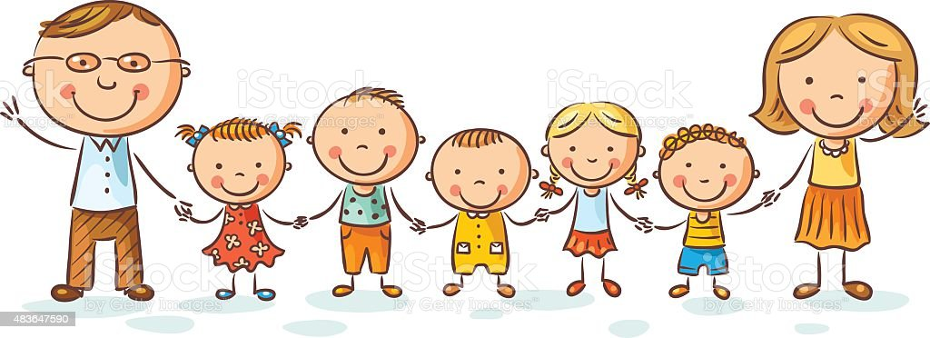 Happy family with many children vector art illustration
