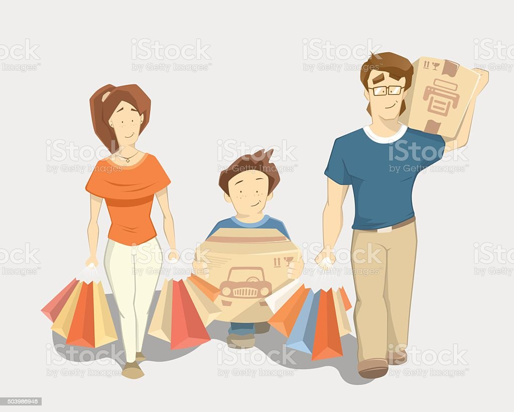 Happy family with paperbags shopping bags vector art illustration