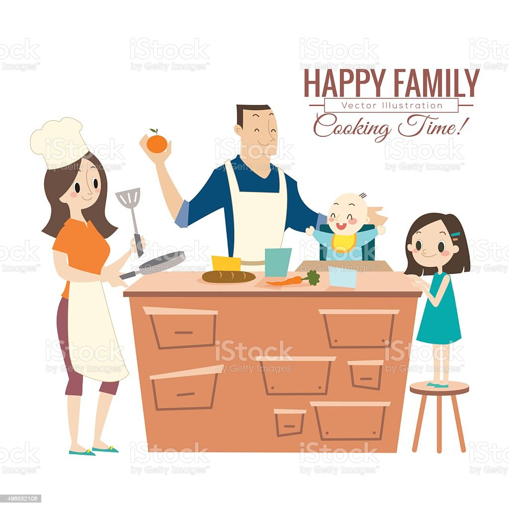 Selection of cartoons on cooking kitchens food and eating - Happy Family With Parents And Children Cooking In Kitchen Royalty Free Stock Vector Art