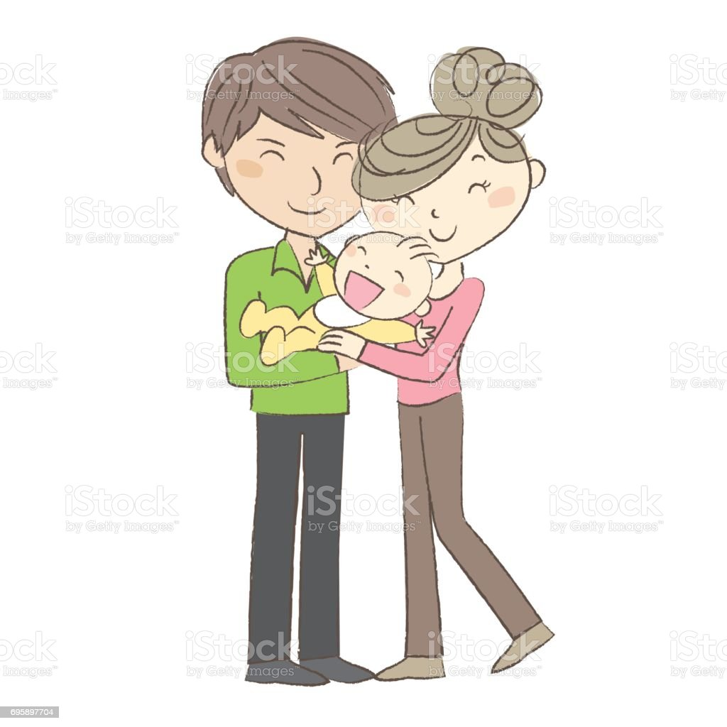 Happy family, young couple holding their baby vector art illustration