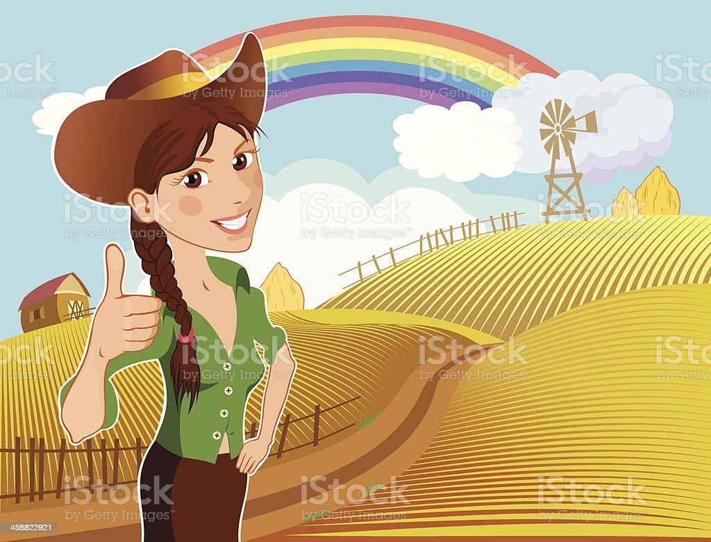 Happy farm girl royalty-free stock vector art