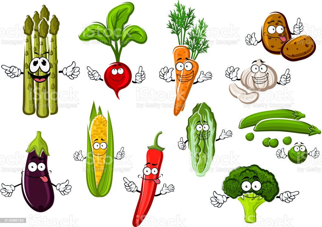 Happy farm vegetables cartoon characters vector art illustration