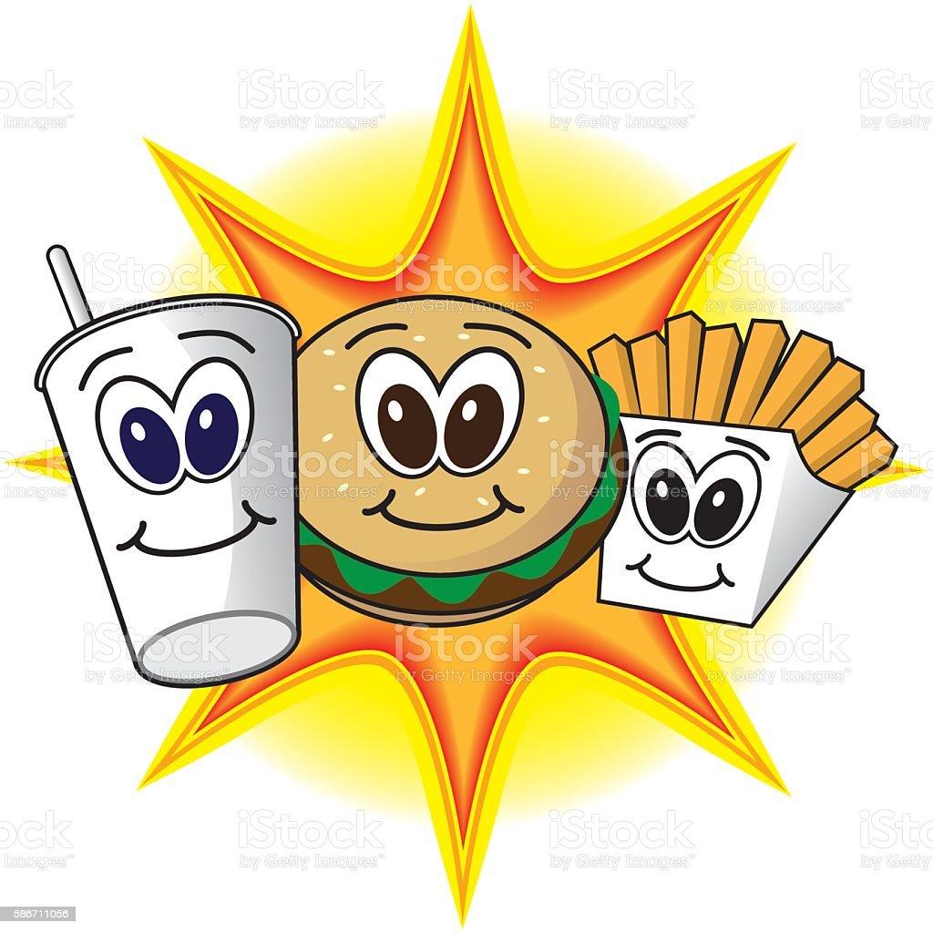 Happy Fast Food vector art illustration