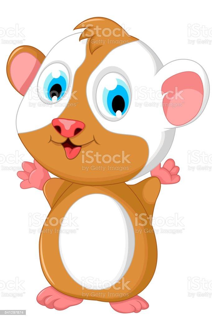 happy fat hamster cartoon posing vector art illustration