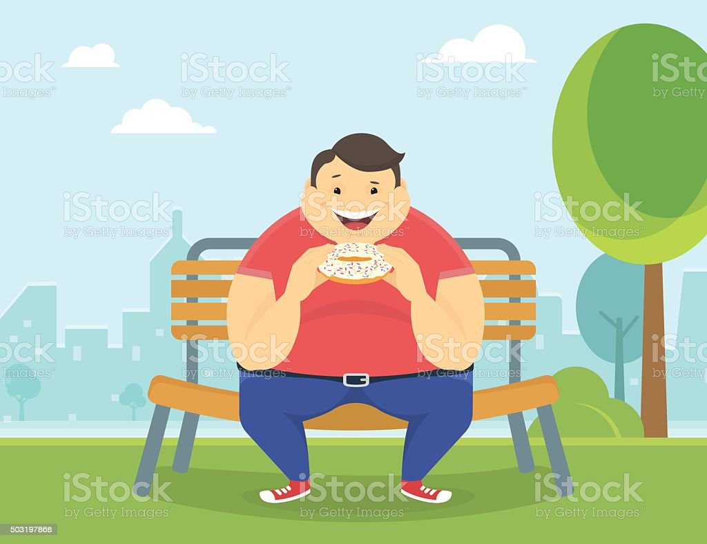 Happy fat man eating a big donut in the park vector art illustration