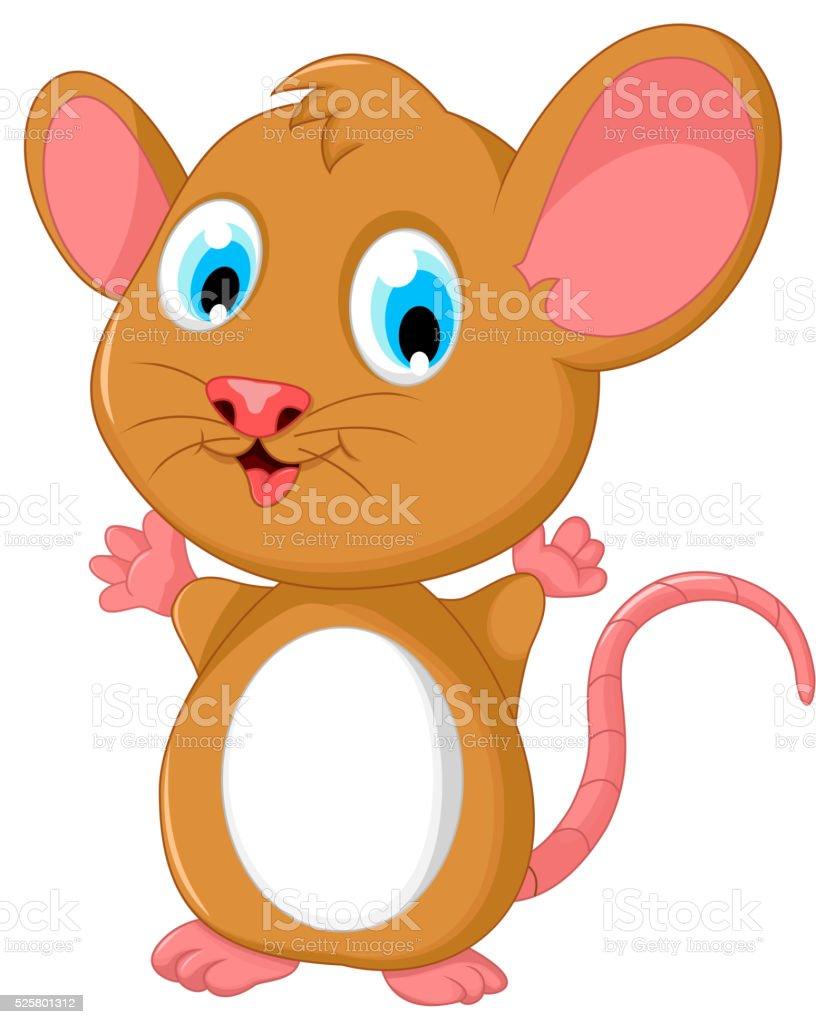 happy fat mouse cartoon posing vector art illustration