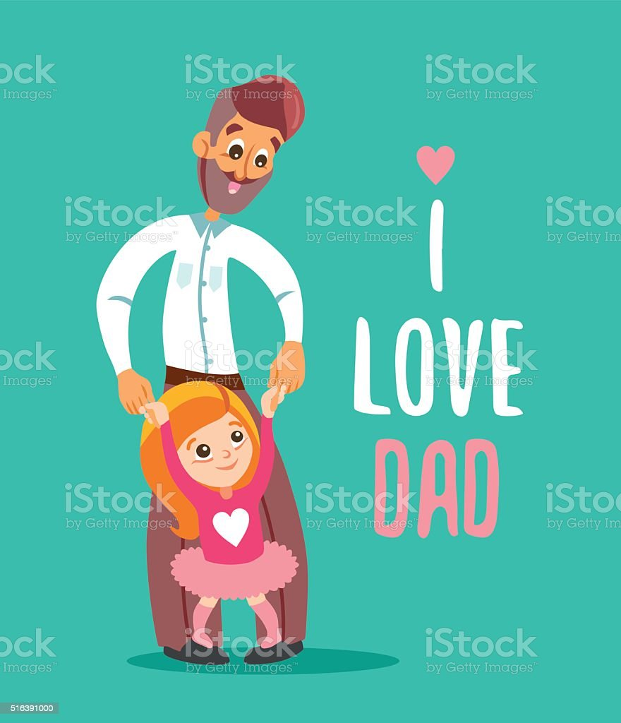 Happy father with daughter standing on his legs. vector art illustration