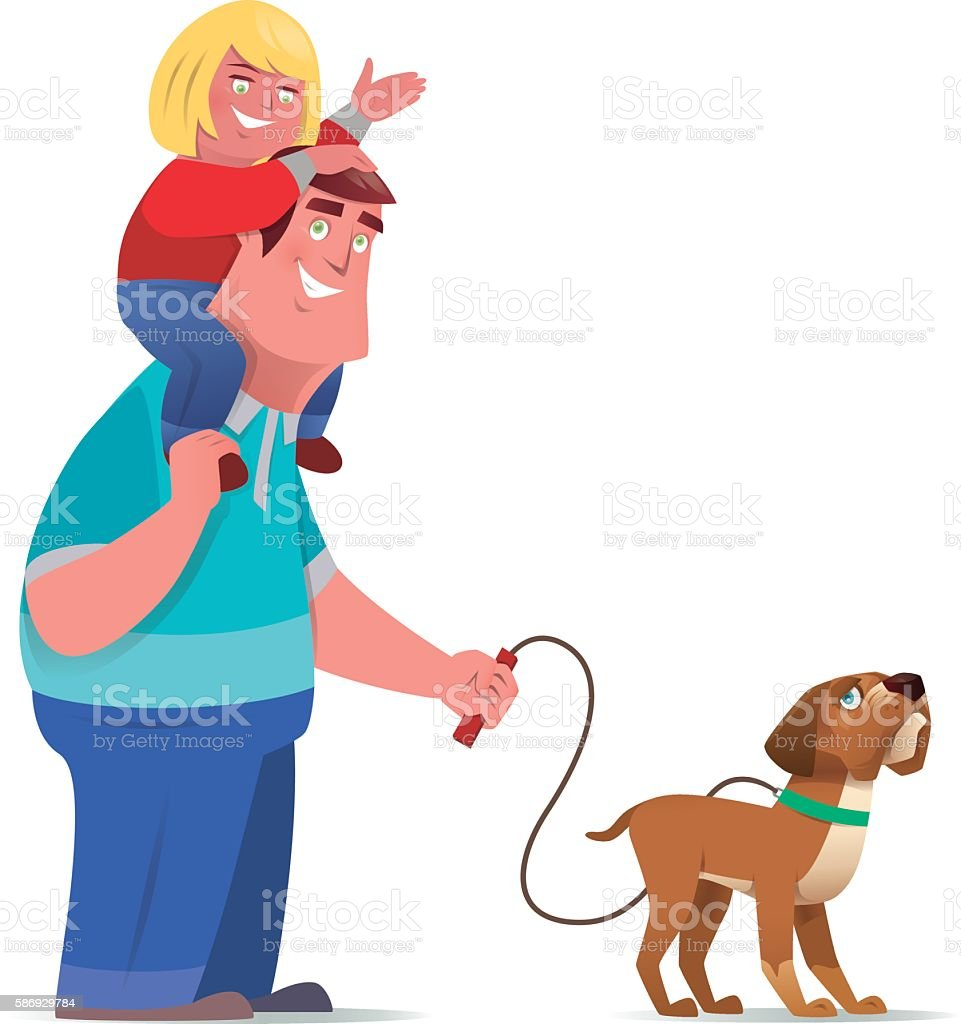 happy father with daughter vector art illustration