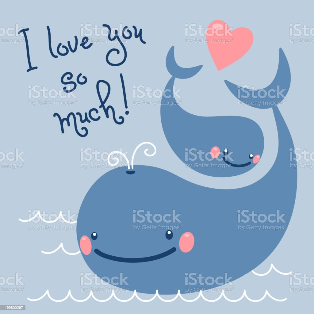 Happy Father's Day. Card with cute whales. vector art illustration