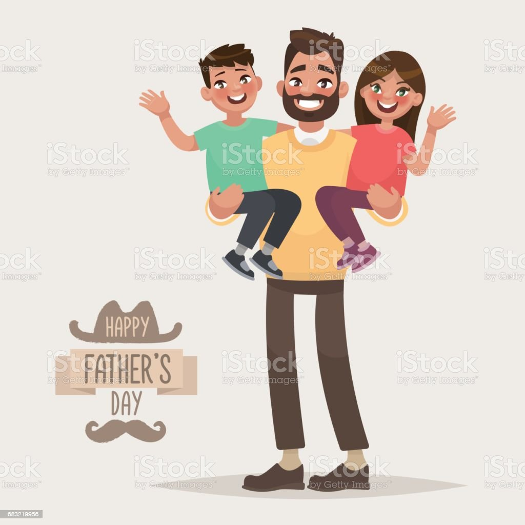 Happy Father's Day. Dad with his son and daughter in his arms. Greeting card for the holiday vector art illustration