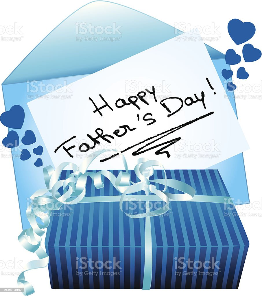 Happy father's day gift and greeting card. vector art illustration