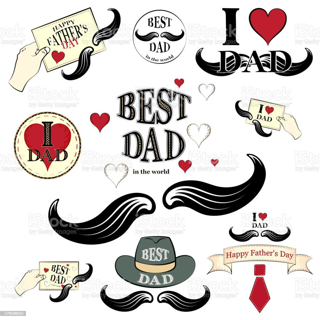 Happy fathers day, set vector art illustration