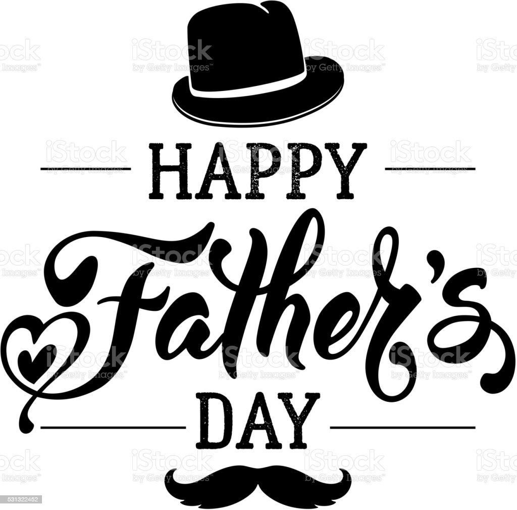Fathers Day Lettering Calligraphic Design Isolated on White...