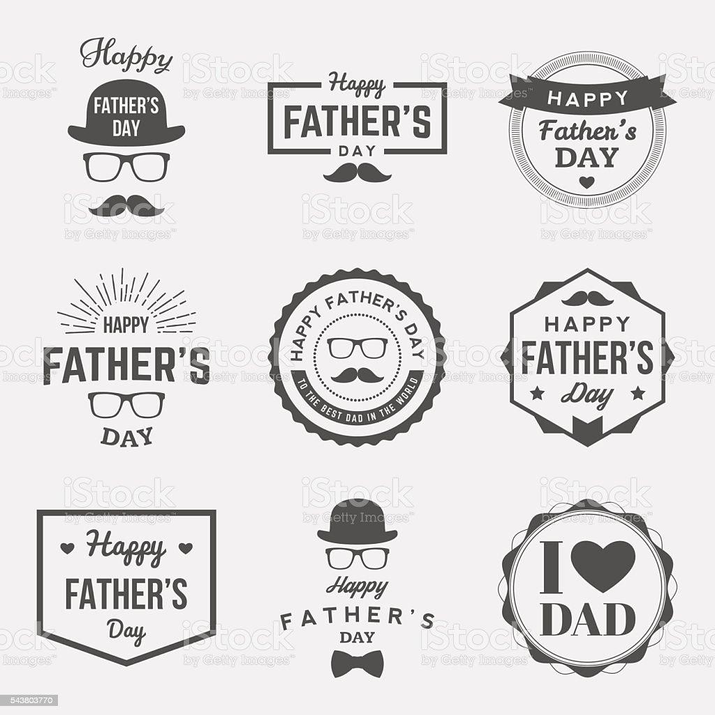 happy fathers day vintage labels set. vector illustration vector art illustration