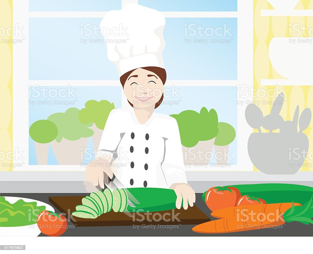 Happy female chef cutting fresh vegetables for salad in kitchen vector art illustration