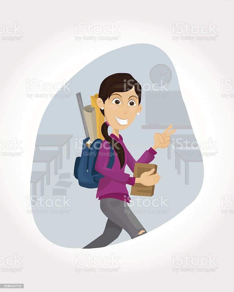 Happy female student vector art illustration