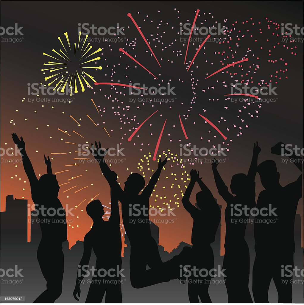 Happy Fireworks Vector Silhouette royalty-free stock vector art