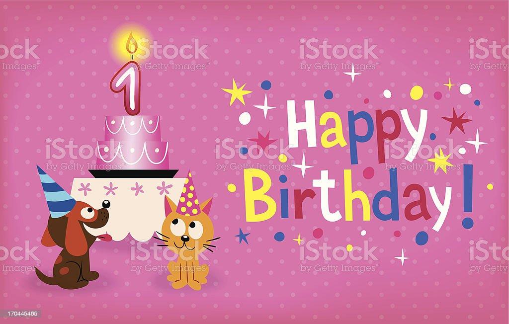 Happy First Birthday royalty-free stock vector art