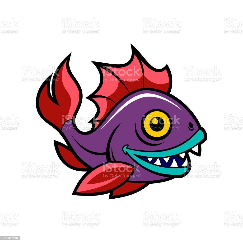 Happy fish vector art illustration