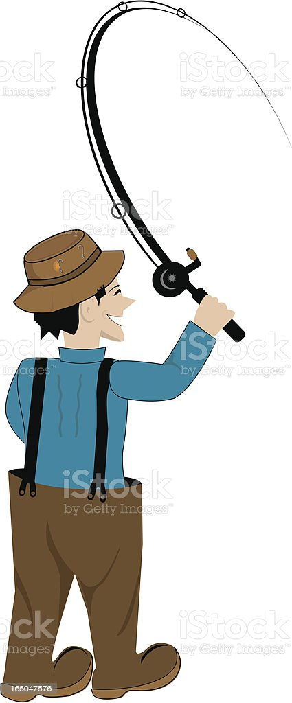 happy fisher man vector art illustration