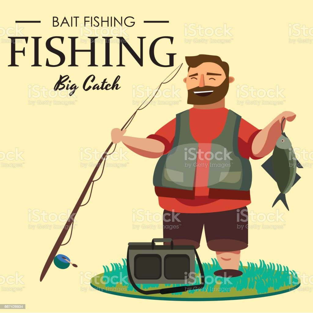 Happy fisherman stands and holds in hand fishing rod with spinning and fish catch, bag with fishman spin and equipment, funny cartoon vector illustration, Man active vacation banner or Flyer concept vector art illustration