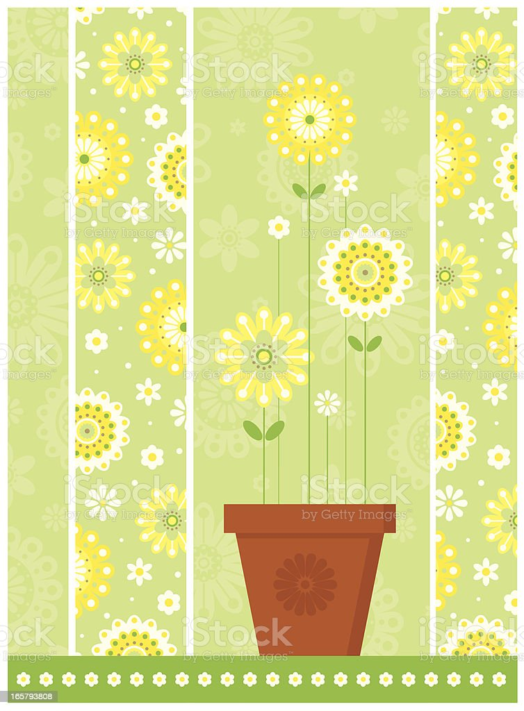 Happy Floral and Flower Pot Placement Design royalty-free stock vector art