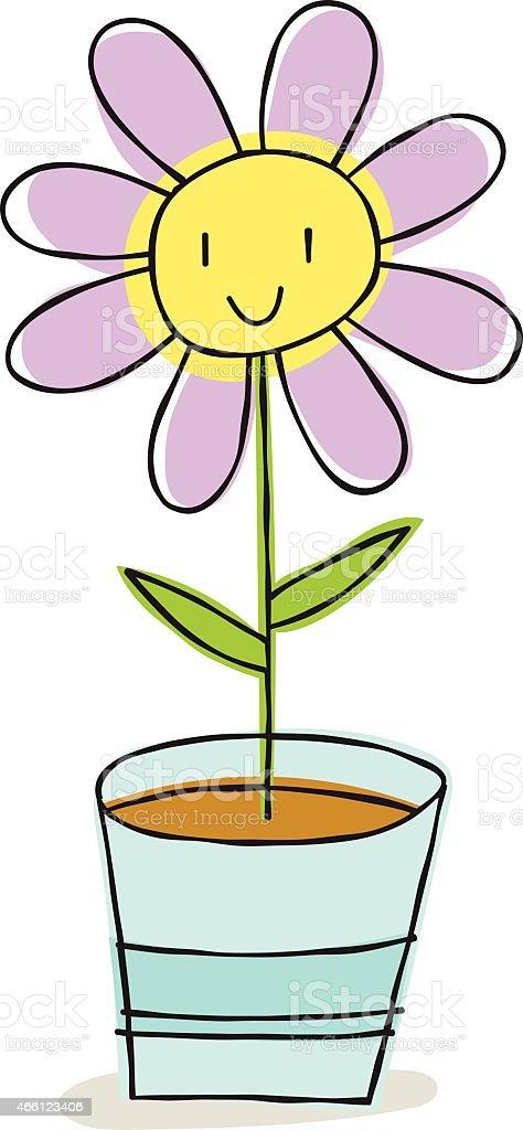 Happy Flower - Doodle vector art illustration