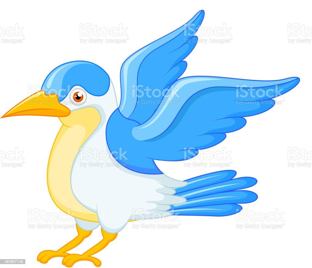Happy flying bird cartoon royalty-free stock vector art
