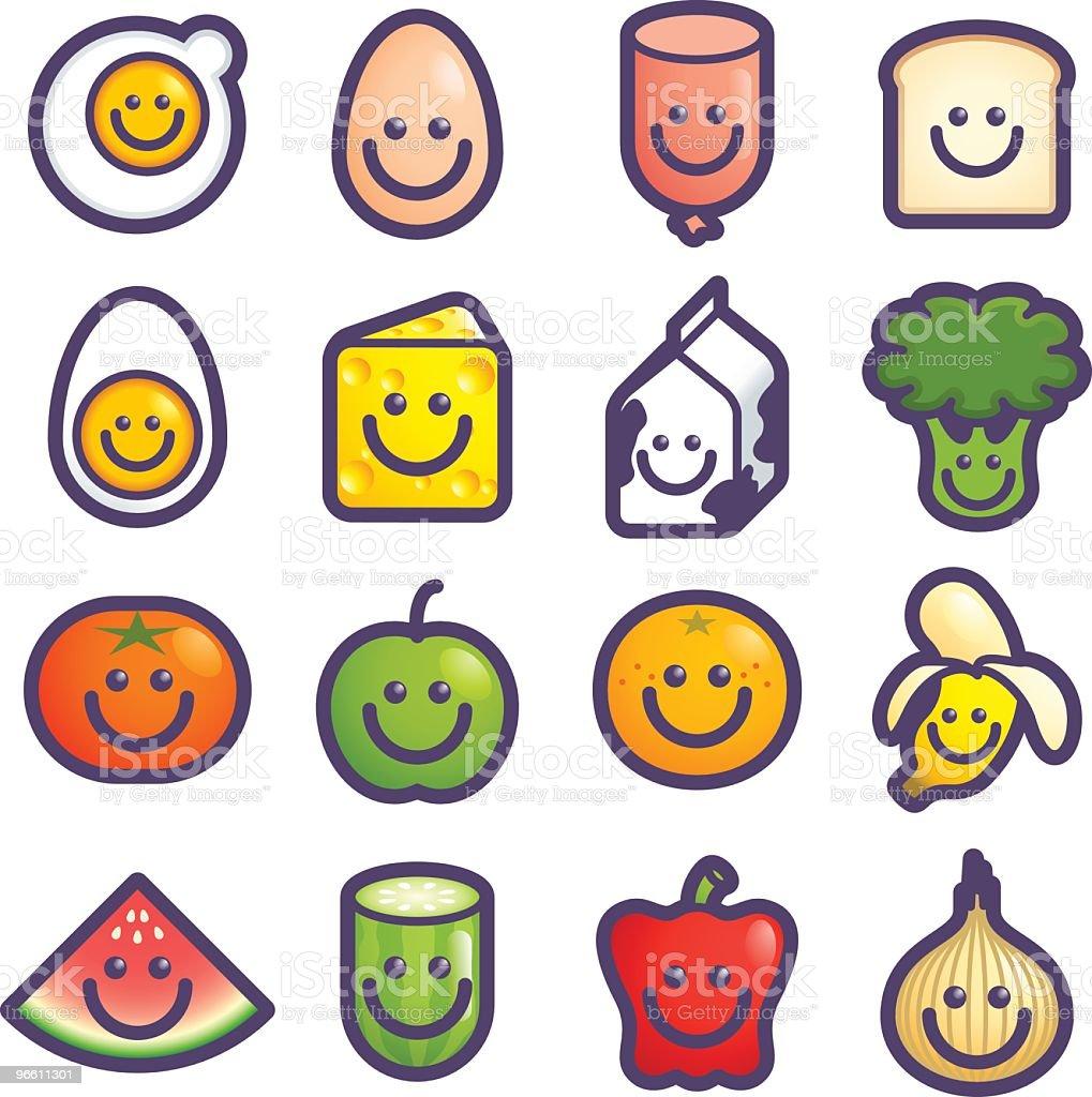 happy food icons vector art illustration