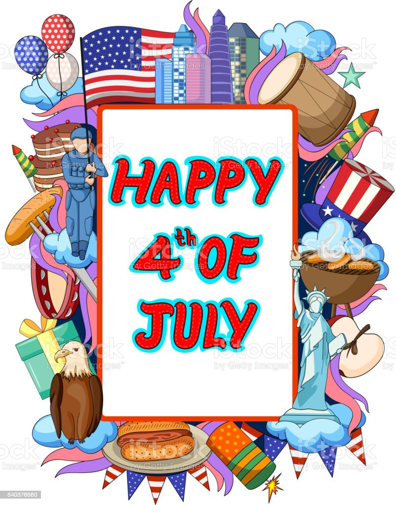 Happy Fourth of July doodle background vector art illustration
